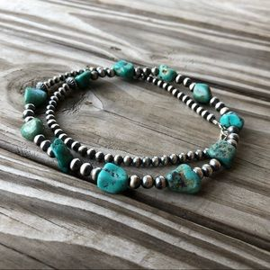 Boho Turquoise Nugget & Desert Pearl Necklace